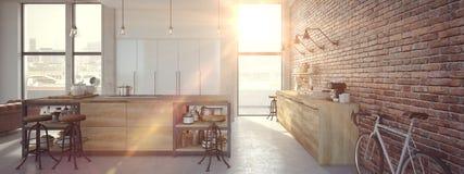 Intérieur luxueux de cuisine de conception moderne rendu 3d Photos stock