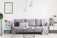Intérieur luxueux de salon avec un divan gris, lampes, café images libres de droits