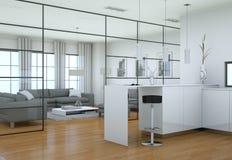Intérieur minimaliste moderne de salon dans le style de conception de grenier avec des sofas Photo stock
