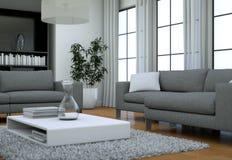 Intérieur minimaliste moderne de salon dans le style de conception de grenier avec des sofas Photographie stock libre de droits