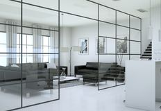 Intérieur minimaliste moderne de salon dans le style de conception de grenier avec des sofas Image libre de droits