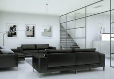 Intérieur minimaliste moderne de salon dans le style de conception de grenier avec des sofas Photo libre de droits