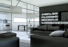 Intérieur minimaliste moderne de salon dans le style de conception de grenier avec des sofas Images libres de droits