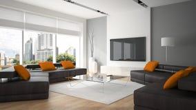 Intérieur moderne avec deux sofas et oreillers oranges Photographie stock libre de droits