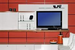 Intérieur moderne avec l'affichage à cristaux liquides TV Image libre de droits