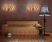 Intérieur moderne avec la lampe d'étage et la lampe de mur Images libres de droits