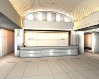Intérieur moderne avec le hall de la réception 3D de l'hôtel Photos libres de droits