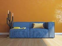 Intérieur moderne avec le rendu du sofa 3d Photos libres de droits