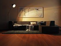Intérieur moderne avec le rendu du sofa 3d Photo libre de droits