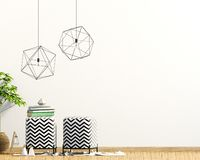 Intérieur moderne avec le tabouret, le décor et les lampes capitonnés moquerie de mur  illustration libre de droits
