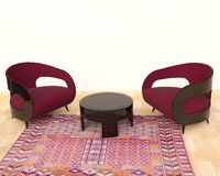 Intérieur moderne avec les fauteuils et le tapis Image stock
