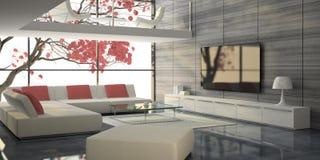 Intérieur moderne avec les sofas blancs et l'arbre rose Photos libres de droits