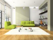 Intérieur moderne avec les sofas verts illustration libre de droits