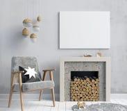 Intérieur moderne avec une cheminée décorative, style scandinave illustration stock