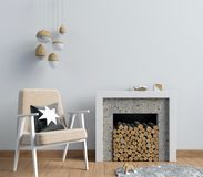 Intérieur moderne avec une cheminée décorative, style scandinave illustration libre de droits