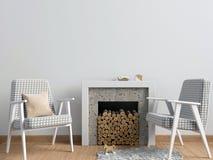Intérieur moderne avec une cheminée décorative, style scandinave illustration de vecteur