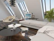 Intérieur moderne bien aéré lumineux de salon illustration de vecteur