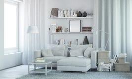 Intérieur moderne blanc avec le décor 3d rendent Image libre de droits