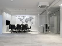Intérieur moderne blanc de bureau Salle de réunion rendu 3d image libre de droits
