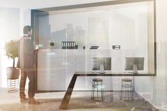 Intérieur moderne blanc de lieu de travail modifié la tonalité Photographie stock