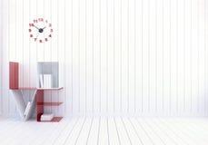 Intérieur moderne blanc de pièce avec des étagères à livres d'amour de mot pour le jour du ` s de Valentine Photos stock