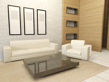 Intérieur moderne blanc de salon Photographie stock