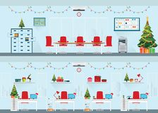 Intérieur moderne de bureau de Noël avec le bureau Image stock