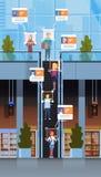 Intérieur moderne de centre commercial de concept facial de reconnaissance d'identification d'escalator d'escalier mobile de vis illustration de vecteur