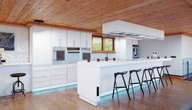 Intérieur moderne de chalet de cuisine photos stock