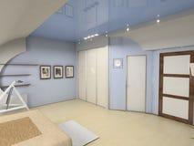 Intérieur moderne de chambre à coucher Images libres de droits