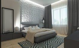 Intérieur moderne de chambre à coucher Photo libre de droits