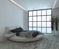 Intérieur moderne de chambre à coucher avec la fenêtre énorme illustration stock