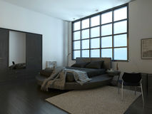 Intérieur moderne de chambre à coucher avec la fenêtre énorme Images libres de droits