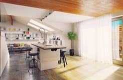 Intérieur moderne de cuisine Photos stock