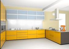 Intérieur moderne de cuisine en jaune Photographie stock libre de droits
