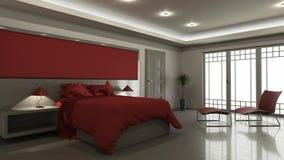 intérieur moderne de la chambre à coucher 3D Images stock