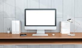 Intérieur moderne de lieu de travail avec le rendu d'ordinateur et de dispositifs 3D Image libre de droits