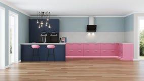 Intérieur moderne de maison Cuisine rose Image stock