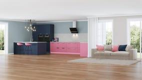 Intérieur moderne de maison Cuisine rose Photographie stock