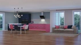 Intérieur moderne de maison Cuisine rose Photo libre de droits