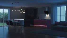 Intérieur moderne de maison Cuisine rose Image libre de droits