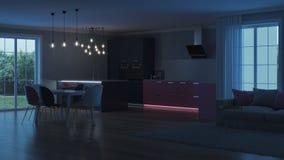 Intérieur moderne de maison Cuisine rose Photos libres de droits