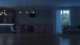 Intérieur moderne de maison Cuisine rose Photographie stock libre de droits