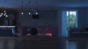 Intérieur moderne de maison Cuisine rose Images stock