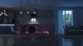 Intérieur moderne de maison Cuisine rose Photo stock