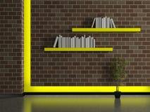 Intérieur moderne de maison, mur de briques avec des étagères à livres illustration de vecteur
