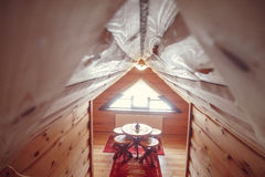 Intérieur moderne de maison pièce de salon de maison Intérieur abstrait de chambre à coucher de tache floue pour le fond Intérieu Images libres de droits