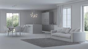 Intérieur moderne de maison réparations Intérieur gris Images libres de droits