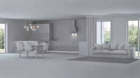 Intérieur moderne de maison réparations Intérieur gris Image libre de droits