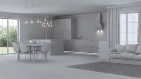 Intérieur moderne de maison réparations Intérieur gris Photo stock